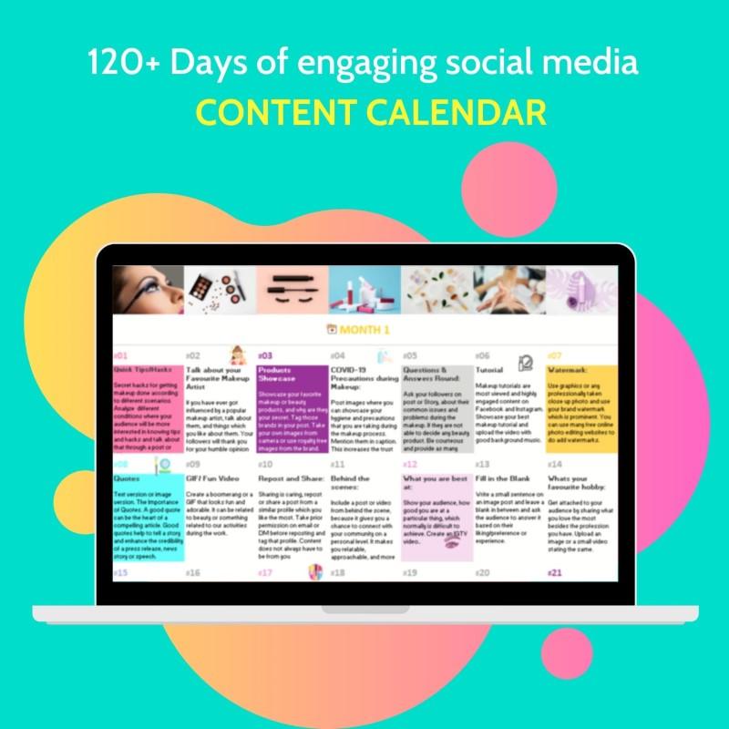 Content calendar for Makeup artists
